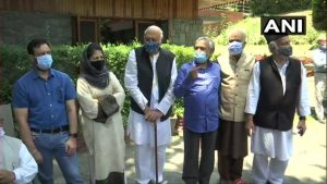 Members of Gupkar alliance in Srinagar on Tuesday, June 22, 2021
