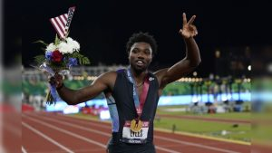 Noah Lyles celebrates after winning the final in the men's 200-meter run at the U.S. Olympic Track and Field Trials on June 27. Photo Credit: AP/PTI